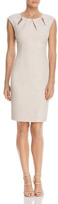 Eliza J Embellished Pleated-Neck Sheath Dress $148 thestylecure.com