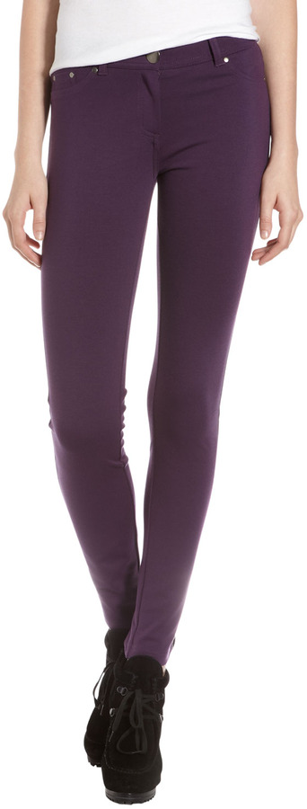 Romeo & Juliet Couture Five-Pocket Ponte Stretch Pants, Plum