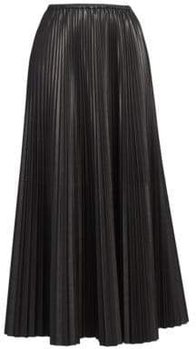 Valentino Women's Pleated Silk Maxi Skirt - Black - Size 44 (8)