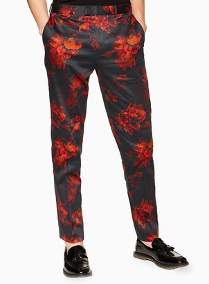 Black Flowers Print Slim Trousers