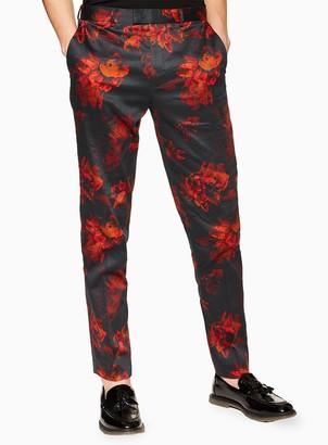 Black Floral Print Slim Trousers