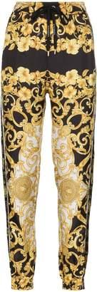 Versace printed loose fit silk track pants