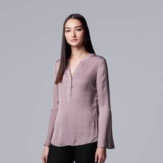 Vera Wang Women's Simply Vera Bell-Sleeve Satin Henley Top