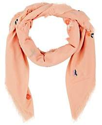 Barneys New York WOMEN'S EMBROIDERED COTTON VOILE SCARF-PEACH