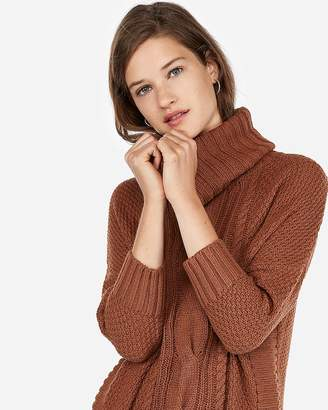 Express Cowl Neck Cable Knit Circle Hem Sweater