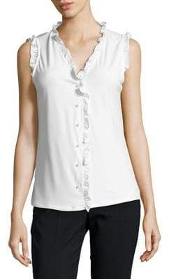 Karl Lagerfeld Paris Ruffle-Trimmed Sleeveless Top