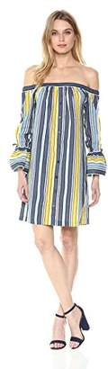 ECI New York Women's Off The Shoulder Flared Sleeve Striped Dress