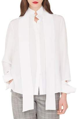 Akris Long-Sleeve Silk Crepe Blouse with Detachable Bow & Cuffs