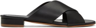 Mansur Gavriel Black Flat Crossover Sandals $395 thestylecure.com