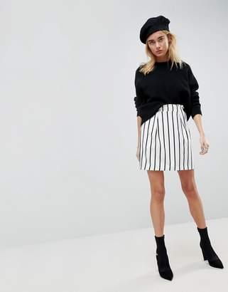 Asos Design Tailored Ruffle Paperbag Waist A-Line Mini Skirt In Stripe