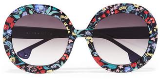Alice + Olivia Alice Olivia - Melrose Round-frame Floral-print Acetate Sunglasses - Black $295 thestylecure.com