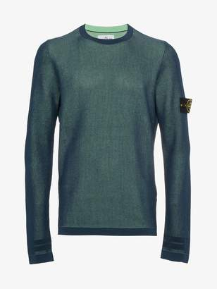 Stone Island Blue logo patch pullover