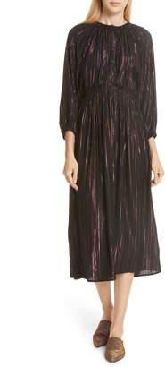Apiece Apart Rainbow Metallic Stripe Midi Dress