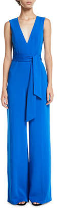 Jay Godfrey V-Neck Jumpsuit w/ Tie Detail