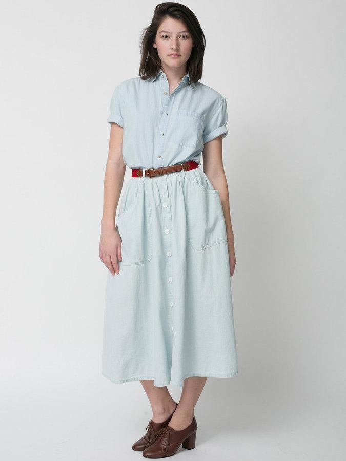 American Apparel Button Up Long Denim Skirt