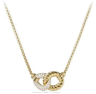 David Yurman Belmont® Double Curb Link Necklace With Diamonds In 18K