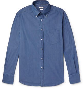 Brunello Cucinelli Slim-Fit Button-Down Collar Cotton-Chambray Shirt - Blue