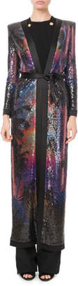 Balmain Sequined Palm-Sunset Print Duster Cardigan
