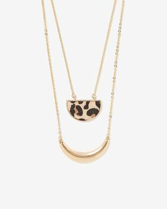 Express Double Row Leopard Pendant Necklace
