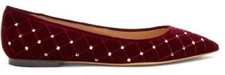 Valentino Rockstud Spike Velvet Point Toe Ballet Flats - Womens - Burgundy