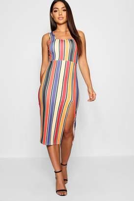 boohoo Square Neck Fitted Stripe Midi Dress