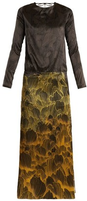 Adriana Iglesias - Mermaid Soho Floral Print Stretch Silk Gown - Womens - Black Gold