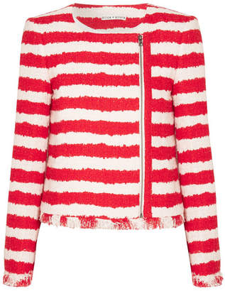 Alice + Olivia Alice Olivia - Stanton Striped Tweed Jacket - Red