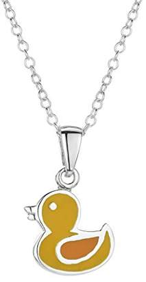 Jo for Girls Sterling Silver and Yellow Enamel Duck Pendant on 35.5cm Chain