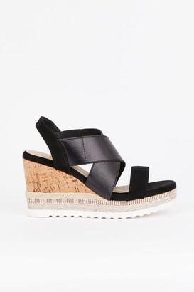 WallisWallis Black Elastic Detail Upper Wedge