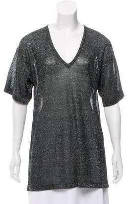 Isabel Marant Short Sleeve Metallic Top