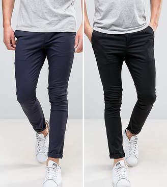 Asos Design DESIGN 2 pack super skinny chinos in black & navy save