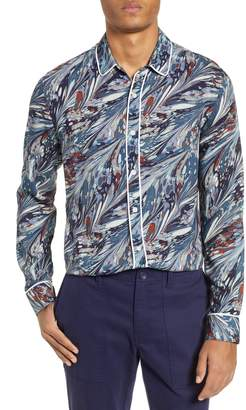 Topman Marble Print Classic Fit Western Shirt