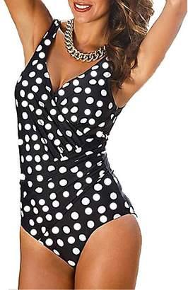 Milis Women's Tummy Control Monokini One Piece Swimsuit Plus Size Swimwear (XL, )
