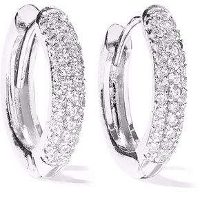 Miore 925 Sterling Silver Crossover Hinged Hoop Earrings with 7 Clear Zirconia Crystals for Women, 6.5 x 16mm