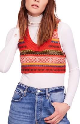 Free People Fields of Fair Isle Crop Sweater Vest