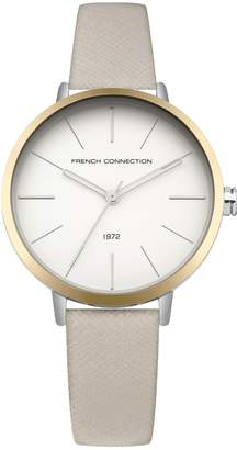 French Connenction Saffiano Leather Strap Watch