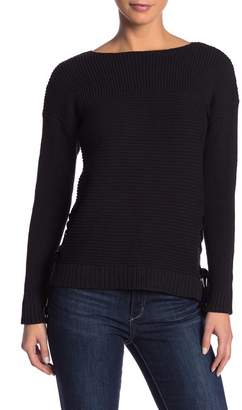 Kensie Lace-Up Rib Knit 3\u002F4 Sleeve Sweater