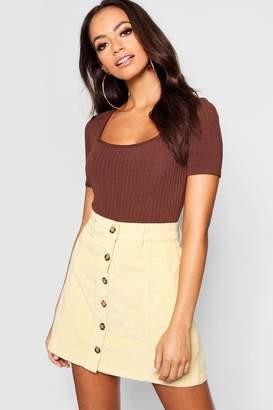 boohoo Mock Horn Button Through Cord Skirt