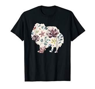 Pomeranian Shirt Watercolor Flower Pattern Dog Pet Gift Xmas