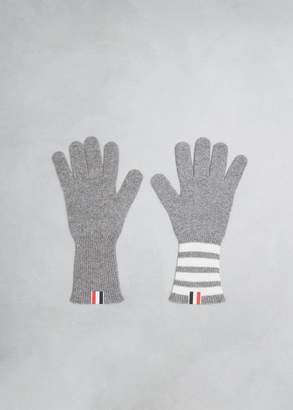 Thom Browne 4 Bar Stripe Cashmere Rib Gloves