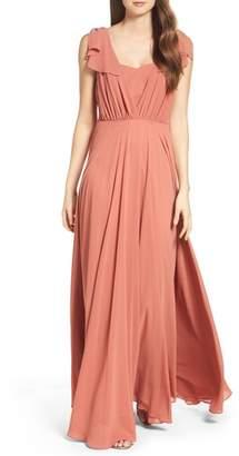 LuLu*s Flutter Sleeve Chiffon Gown