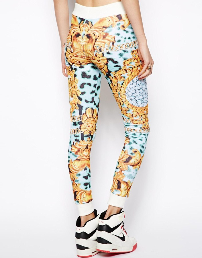 Asos Track Pant In Gold Chain Print
