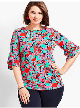 Talbots Plus Size Exclusive Floral Knit Jersey Flutter-Sleeve Top