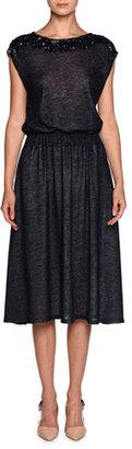 Giorgio Armani Sequined-Yoke Cap-Sleeve Dress, Blue $5,595 thestylecure.com