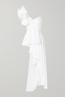 Johanna Ortiz Paso Doble One-shoulder Cotton-blend Poplin Top - White