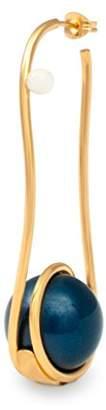 LeiVanKash Women's Gold Plated Bronze Round Black Jasper Nazy Faux Mother of Pearl Resto Single Earrings