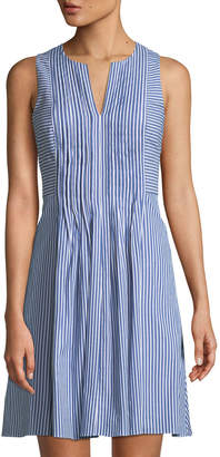 Cynthia Steffe Cece By Pintucked Striped Sleeveless Dress