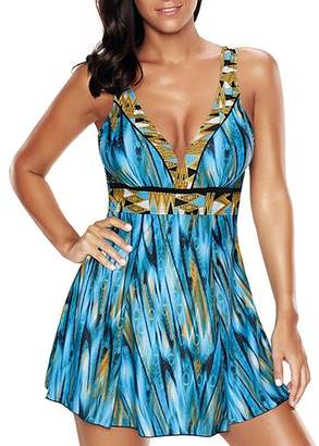 American Trends Women One Peice Swimsuits Printed Flared Skirt Plus Size Tummy Control Swimwear
