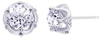 Platinum-Plated Sterling Simulated Diamonds Jubilee Cut Stud Earrings
