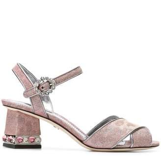 Dolce & Gabbana cross front jeweled heel sandal